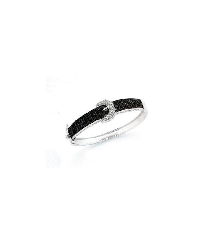 Beau bracelet argent massif rigide ouvrant ceinture en demi jonc de  zirconium noir et blanc e9aae4f2996