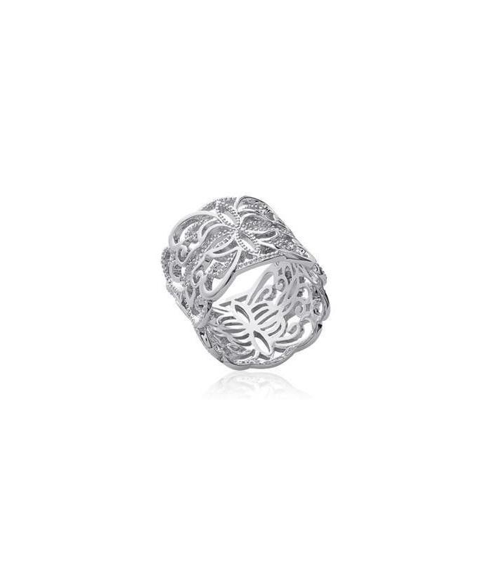 en présentant bonne vente prix réduit Bague argent massif large anneau dentelle et volutes