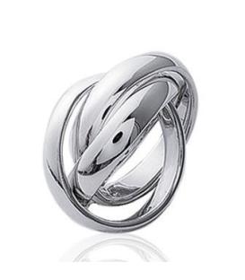 Alliance trois anneaux libres homme femme entrecroisés argent massif