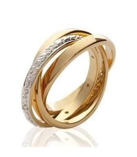 Bague plaqué or anneaux libres entrecroisés et zirconium