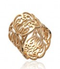 Bague plaqué or large anneau dentelle et volutes