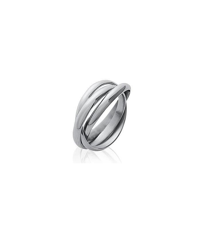 4c632efa72fabe bague trois anneaux acier entrelacés homme femme style alliance