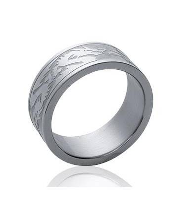 Bague mixte large anneau acier dragon