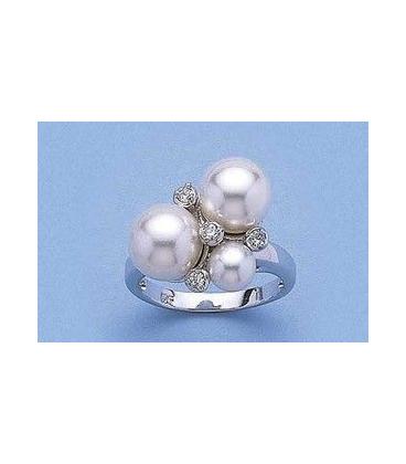 Bague argent massif rehaussée de trois perles de Majorque et oxydes de zirconium