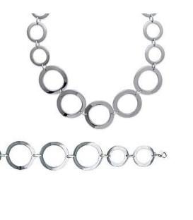 Collier femme acier chute d'anneaux