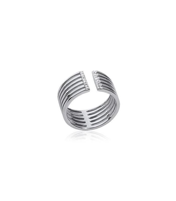 47debd9562296 Bague très originale large anneau ouvert argent massif micro-serti de  zirconium