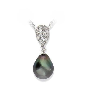 Pendentif perle de TAHITI véritable argent massif et zirconium micro serti