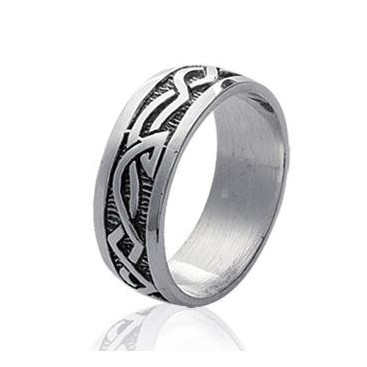 Bague homme alliance argent massif plate inspiration tribale