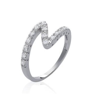 Bague argent massif ajourée anneau en zed de zirconium