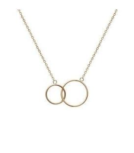 Collier chaine plaqué or anneaux enlacés