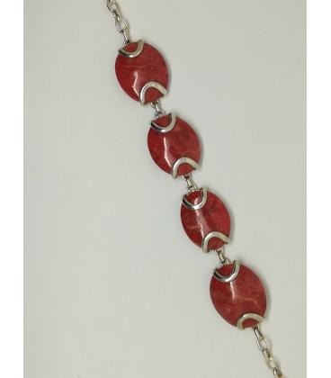 Beau bracelet argent massif quatre pièces gorgone rouge irisé