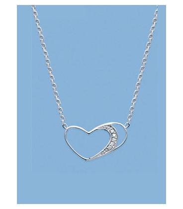 Collier chaîne argent massif coeur micro serti de zirconium