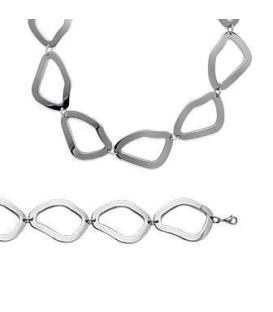 Bracelet femme acier anneaux stylisés