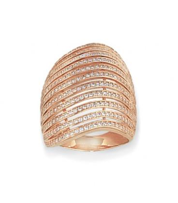 Grosse bague plaqué or rose vagues d'anneaux de zirconium