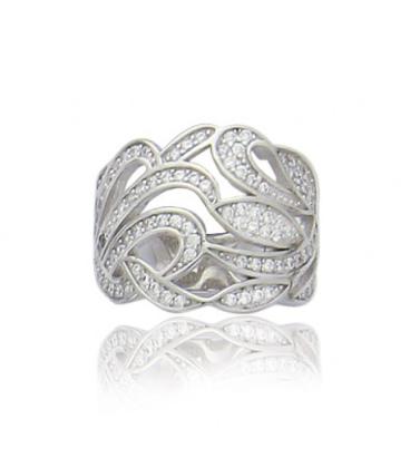 Grosse bague joaillerie argent massif larges anneaux blancs
