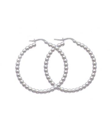 Très belle créole boucles d'oreilles de perles en argent massif