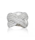 Grosse bague argent massif larges anneaux entrecroisés zirconium blancs