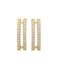 Boucles d'oreilles plaqué or pendants deux rails zirconium
