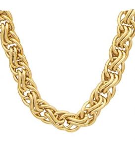 Gros collier plaqué or maille fantaisie tréssée