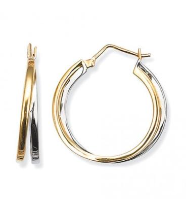 Créole acier bicolore double anneaux