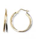 Grande créole ronde acier bicolore double anneaux
