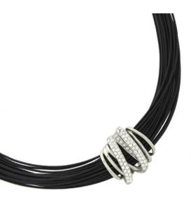 Collier cordons cuir noirs pendant roulé acier zirconium