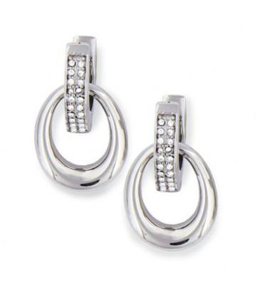 Boucle d'oreille acier oxyde de zirconium pendante