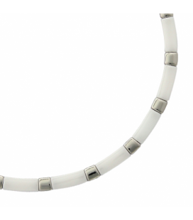 Gros collier acier céramique blanche