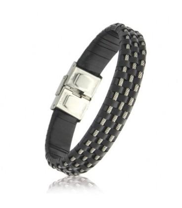 Bracelet acier cuir cable