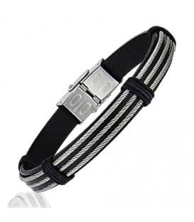 Bracelet homme cables d'acier bagués sur cuir