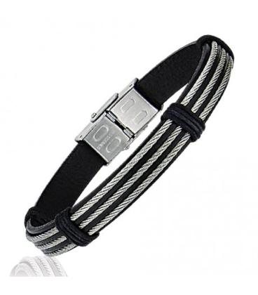 Bracelet homme acier cable et cuir