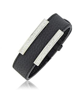 Bracelet acier cuir cristaux