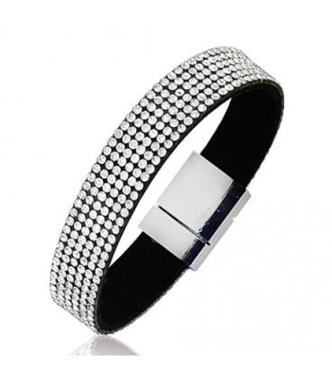 Bracelet acier cuir strass