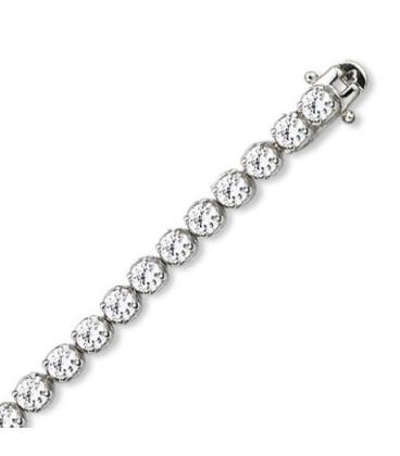 Bracelet argent massif oxyde de zirconium rond serti griffé