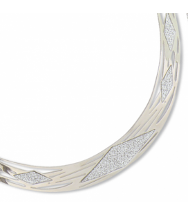 Gros collier femme rigide acier stylisé geometrie granité