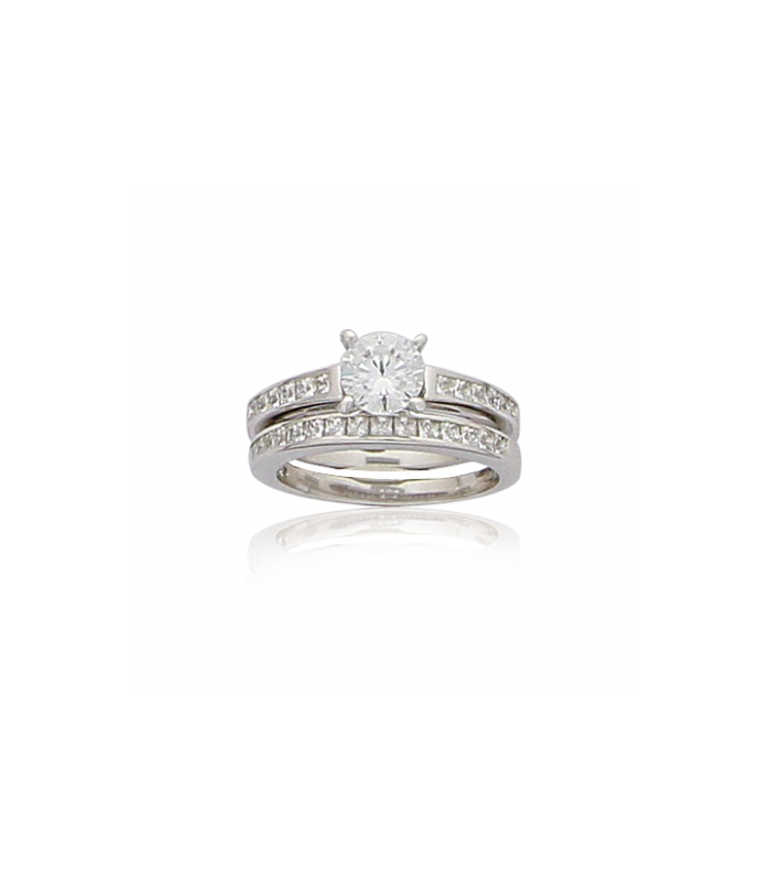 492e81cf7b6 Bague argent massif zirconium duo de bagues mariage fiançaille