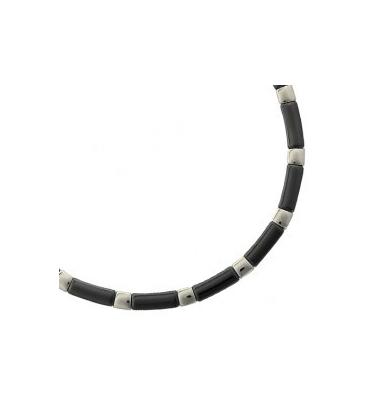 Gros collier homme acier et céramique noire