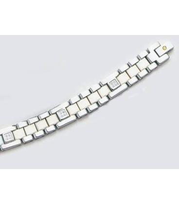 Très beau bracelet homme femme acier céramique blanche diamants vis Or