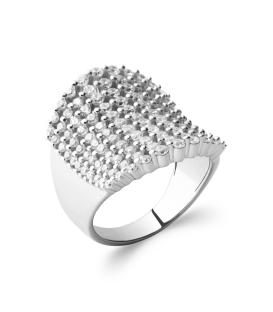 Bague argent massif large anneau légèrement incurvé perlé zirconium un rang sur deux