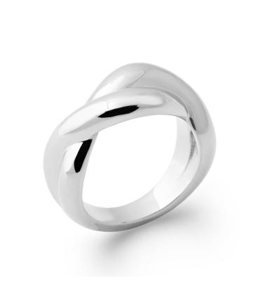 Bague argent simple bel anneau croisé dessus