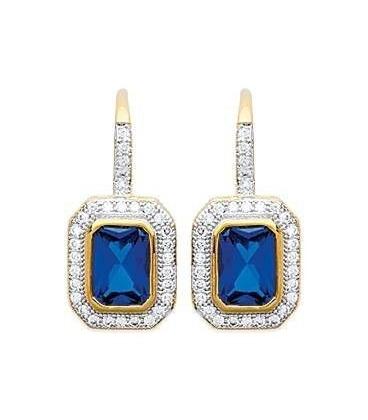 Boucles d'oreilles argent massif oxydes de zirconium bleu et blancs