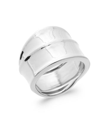 Grosse bague argent massif large style double anneaux