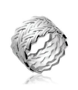 Bague tube large anneau argent beau tressage