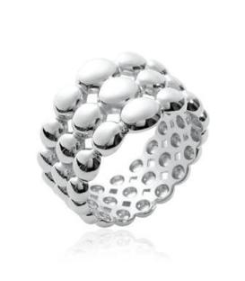 Bague anneau bulles d'argent massif