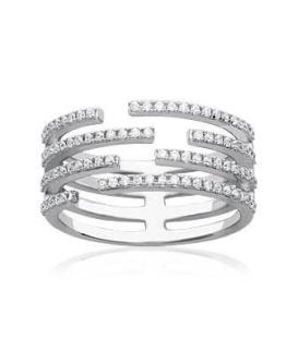 Bague argent quatre anneaux ouverts micro sertis de zirconium