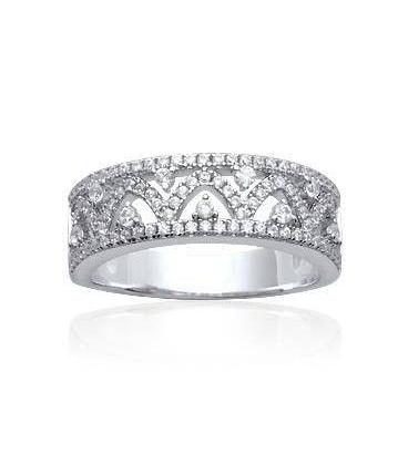Belle bague argent massif anneau de zirconium en arabesques