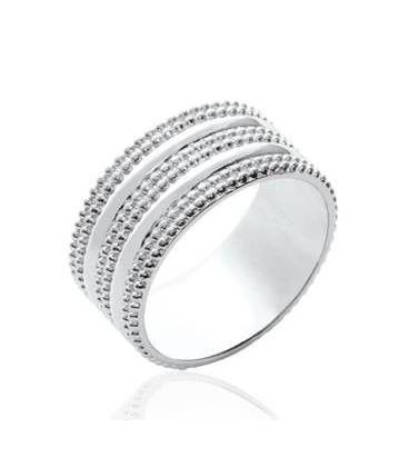 Bague large anneau argent massif perlé fantaisie