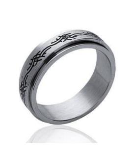 Bague homme acier alliance double anneaux mobiles Romaine tribal