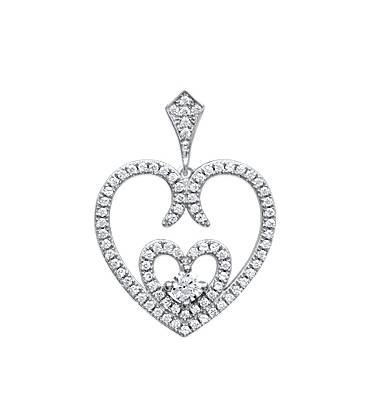 Beau pendentif coeur argent massif ajouré serti de zirconium