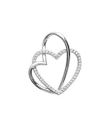 Pendentif coeur dans coeur ajouré en argent massif et zirconium